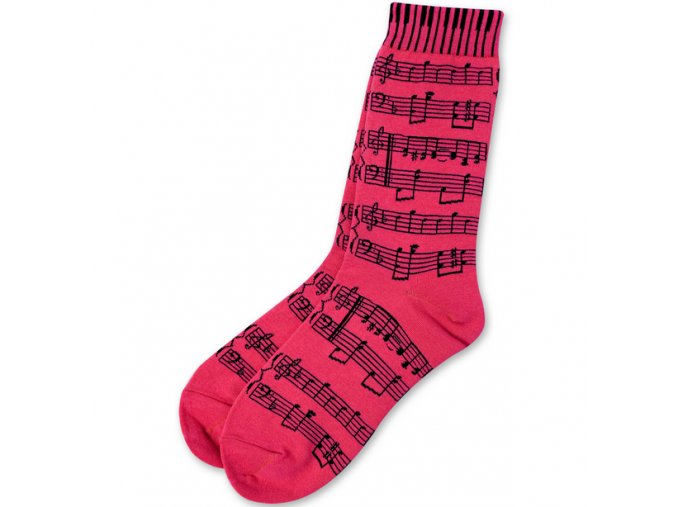 Ponožky s notami dámské - růžové