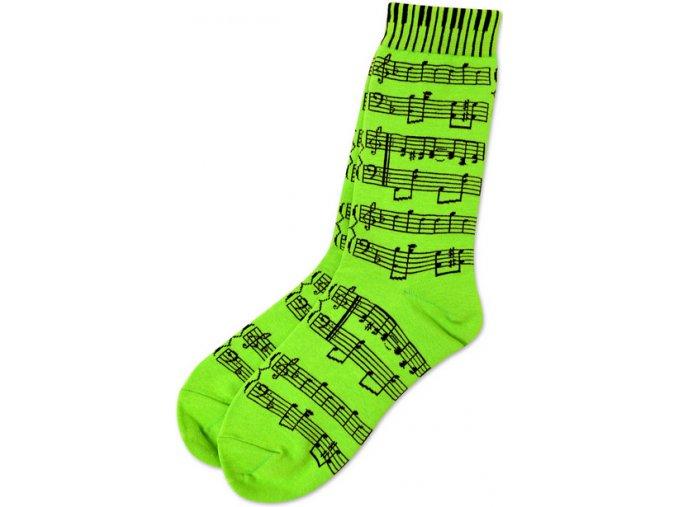 Ponožky s notami dámské - zelené