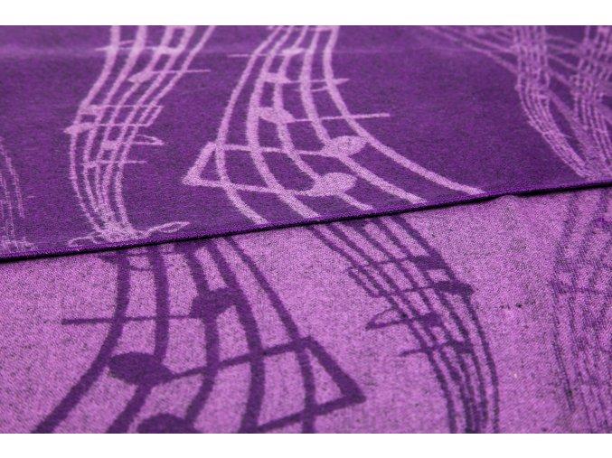 Teplý šál s partiturou fialový