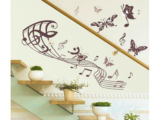 Samolepka na zeď - motýlci hudební fialová