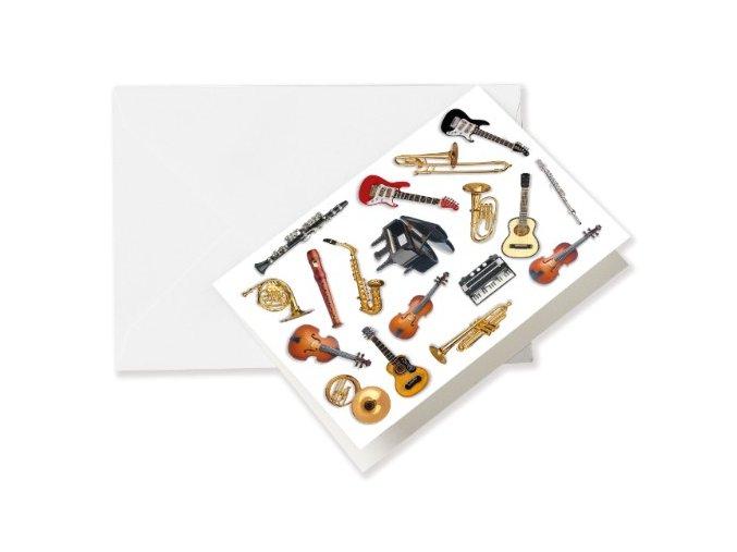 Přání do obálky hudební nástroje