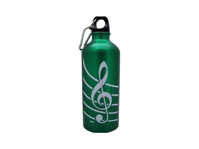 Aluminiová lahev s houslovým klíčem zelená