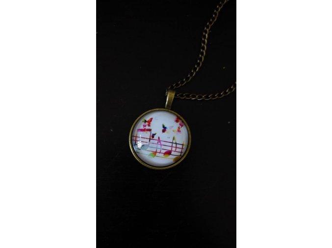 Vintage náhrdelník s barevnými notami