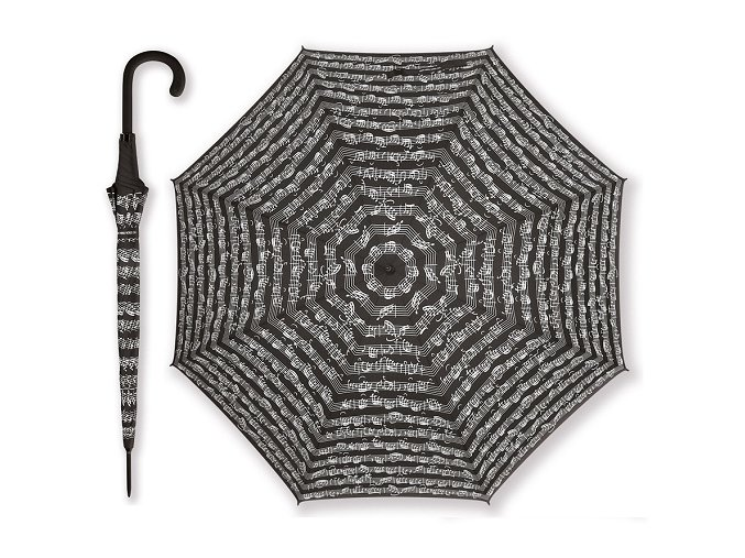 Deštník PARTITURA BACH černý, dlouhý