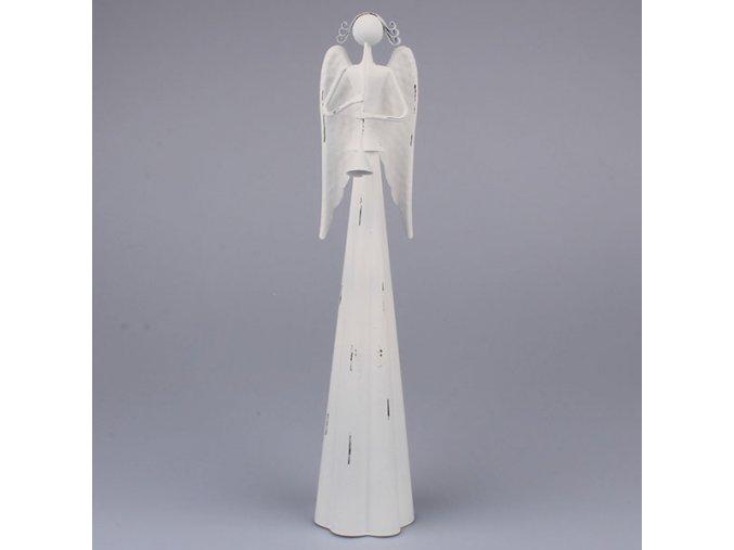 Anděl s trubkou - bílý 49 cm