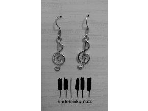 Náušnice houslové klíče - kov lesklé
