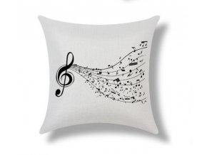 Povlak na polštářek s houslovým klíčem a partiturou