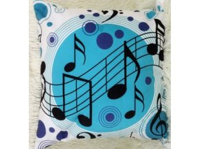 Povlak na polštářek s notami tyrkysové kruhy