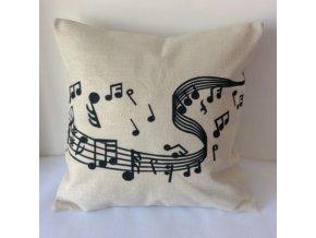 Povlak na polštářek s partiturou a notami