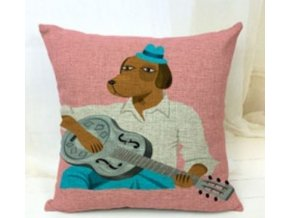 Povlak na polštářek pes s kytarou