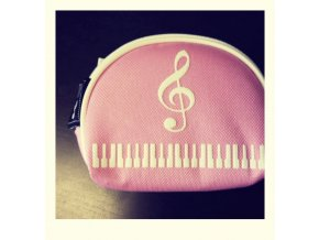 Peněženka růžová s klaviaturou a houslovým klíčem - malá