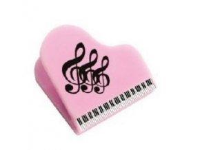Klipsna na noty s klaviaturou a houslovými klíči - růžová
