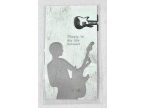 Záložka do knihy elektrická kytara - stříbrná