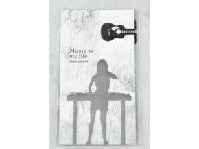 Záložka do knihy kytara - stříbrná