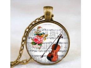 Vintage náhrdelník s partiturou a housle