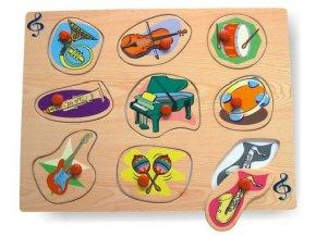Dřevěné puzzle - hudební nástroje