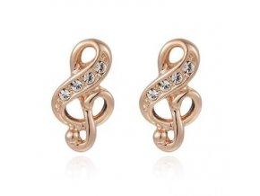 Náušnice houslové klíče s kamínky - růžové zlato