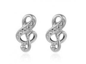 Náušnice houslové klíče s kamínky - stříbro