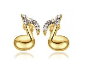 Náušnice osminové noty s kamínky - zlato