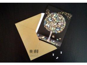 Embosované přání do obálky STROM ZPÍVAJÍCÍ PTÁČCI