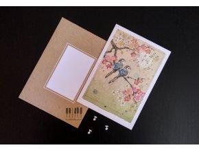 Embosované přání do obálky PTAČÍ MĚSÍČNÍ SONÁTA