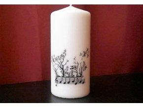 Svíčka se stromovou partiturou velká