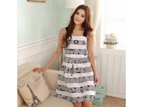 letní šaty s notami bílé, hudební
