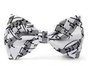 motýlek s partiturou bílý