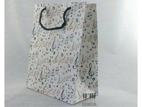 bílá dárková taška s hudební tématikou