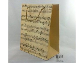 dárková taška s partiturou, pergamenový vzhled