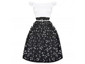 černo bílé šaty s notami SWING, noty, hudba IV