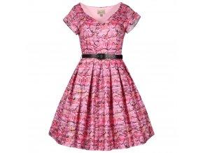 růžové šaty s notami SONG, noty hudba