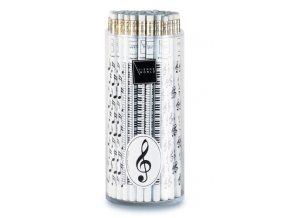 Tužka dřevěná s notami - bílá