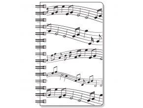 zápisník s notami a partiturou