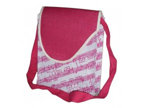 jutová taška s červenou partiturou a notami, přes rameno