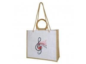 jutová taška s houslovým klíčem a srdcem, dřevěná ucha