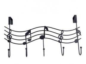 věšák s houslovými klíči a notami