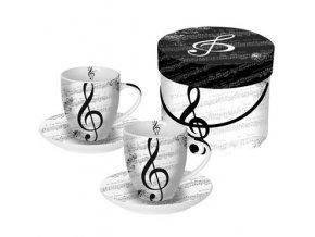 šálky espresso s podšálkem s notami, houslovým klíčem v dárkové krabičce