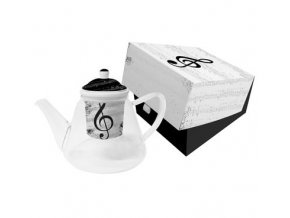 konvička s houslovým klíčem, notami, v dárkové krabičce