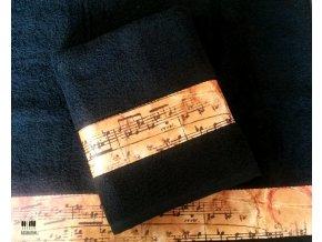 froté ručník s partiturou černý