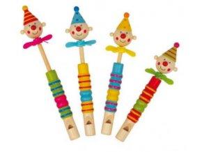 Dětská dřevěná píšťalka Klaun
