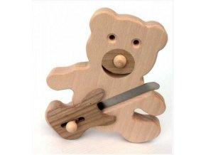 dřevěný medvěd s elektrickou kytarou