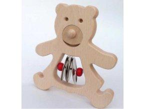 dřevěný medvěd s činely