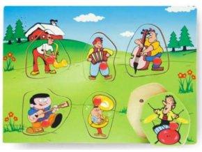 dřevěné puzzle hudební nástroje hrací