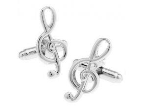 Manžetové knoflíčky - houslový klíč stříbrný