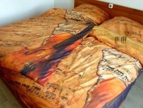 damaškové povlečení housle, partitura
