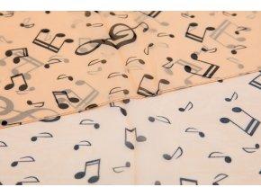 Šál s notami a houslovými klíči lososový