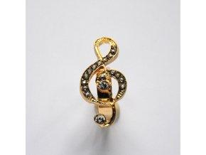 Prsten s houslovým klíčem zlatý