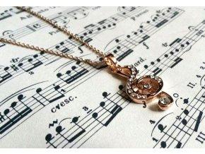 Náhrdelník s houslovým klíčem růžové zlato