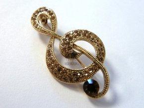 brož houslový klíč s kamínky